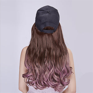 Baseball Cap with Natural Hair Extension