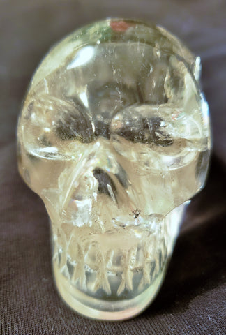 Skull, clear quartz, Great clarity and nice hand-hold size #004