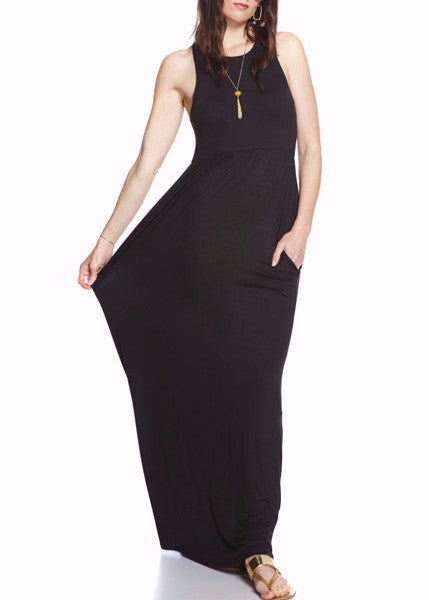 Women's razorback maxi dress in black with pockets and made with soft jersey fabric