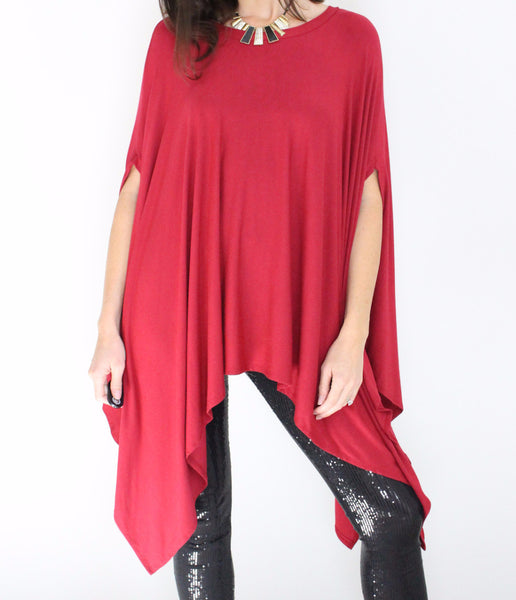 Women's dressy top in red crimson