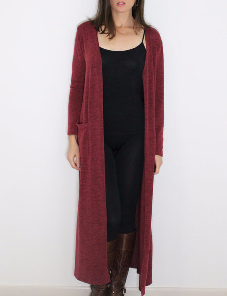 Women's long cardigan in burgundy red