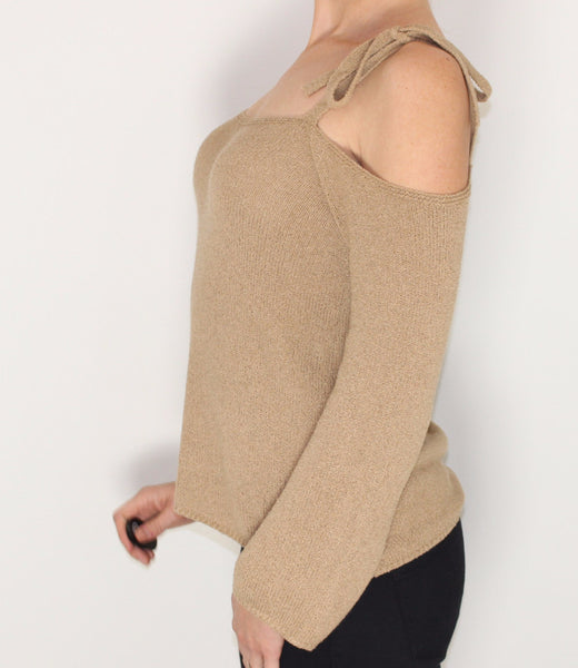 Women's Beige Cold Shoulder Sweater Top Small Medium Large Free Shipping Free Returns