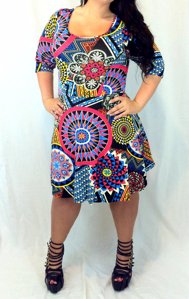 Women's plus sized dress in a trendy tribal print from Malia's, an online boutique featuring fashionable and affordable women's clothing.