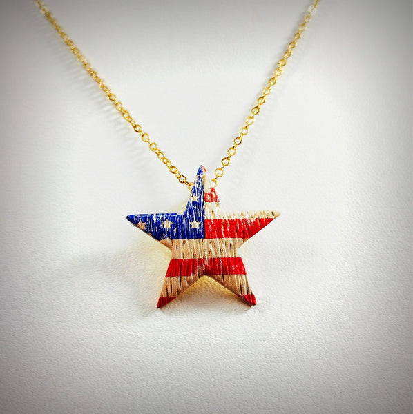 "Women's fashion necklace accessory American flag on 16"" faux gold chain"