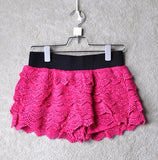 Women's contemporary stretchy lace shorts with elastic waistband