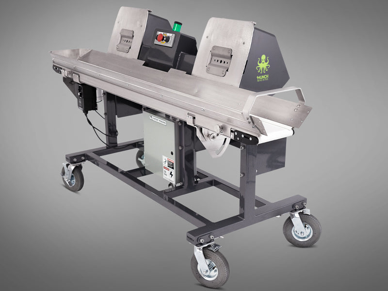 Photo of hemp bucker conveyor the Mother Bucker conveyor designed and manufactured by Munch Machine