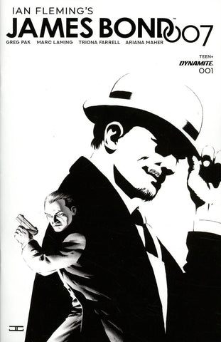 JAMES BOND 007 #1 1/20 CASSADAY BLACK AND WHITE VARIANT