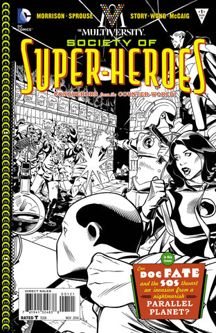 MULTIVERSITY THE SOCIETY OF SUPER-HEROES #1 1/10 BLACK & WHITE VARIANT