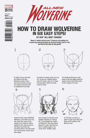 ALL NEW WOLVERINE #25 ZDARSKY HOW TO DRAW VARIANT