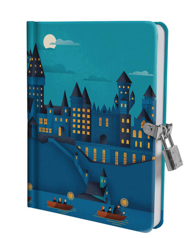 HARRY POTTER HOGWARTS CASTLE AT NIGHT LOCK & KEY DIARY