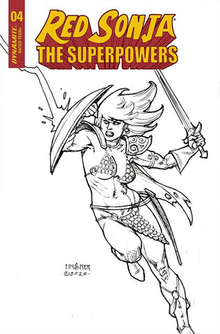 RED SONJA THE SUPERPOWERS #4 1/20 LINSNER B&W VARIANT