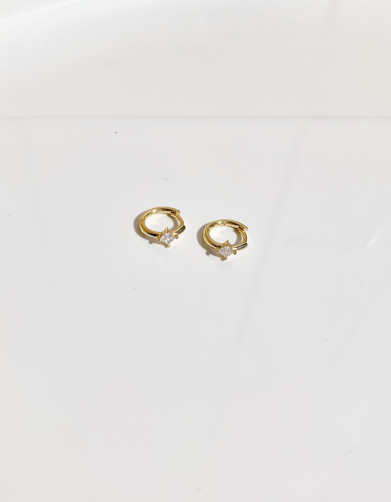 Gold-Cubic-zirconia-hoop-earring-925sterling silver-18gold-plated