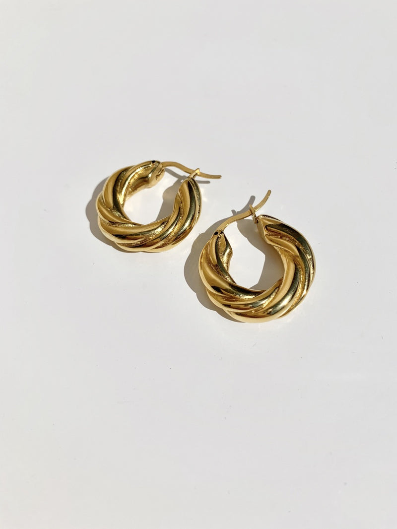 Gold-twist-chunk-hoop-earring-stainless-steel-plating