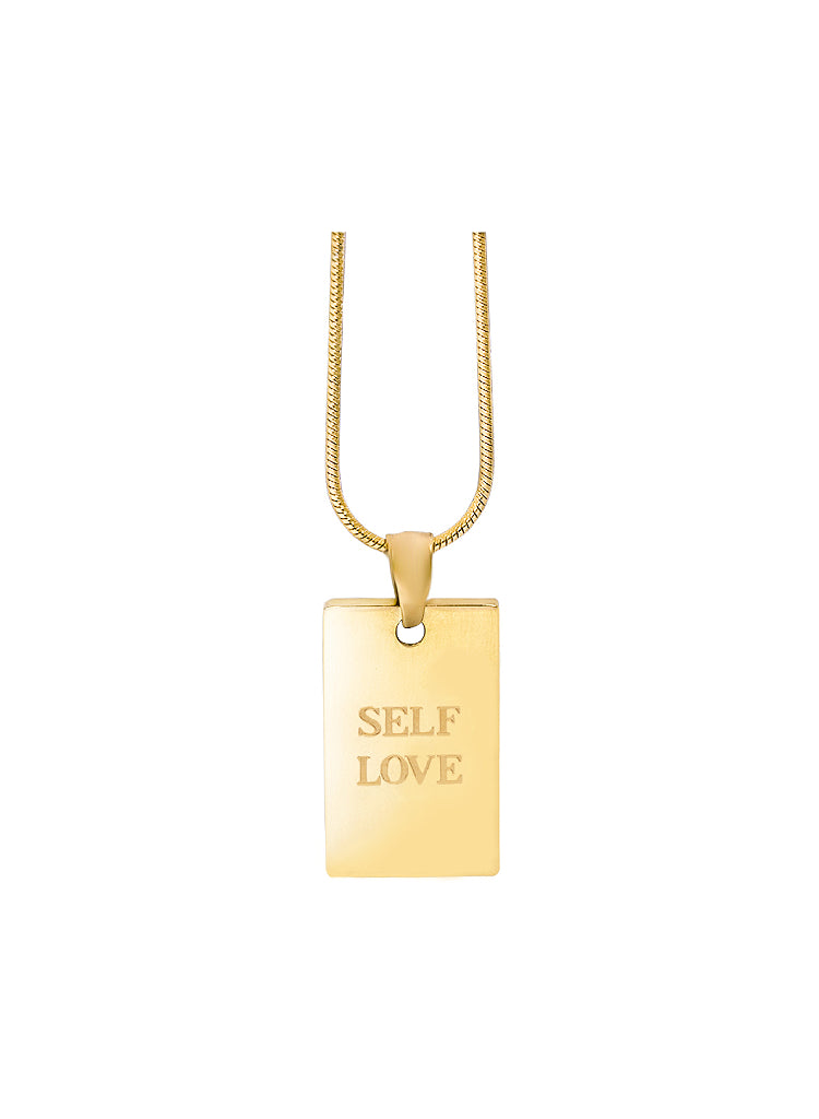Gold-self-love-pendant-stainless-steel-plating-necklace