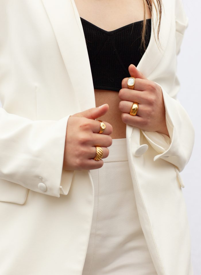 woman-wearing -Gold-chunky-stainless-steel-plating-statement-ring