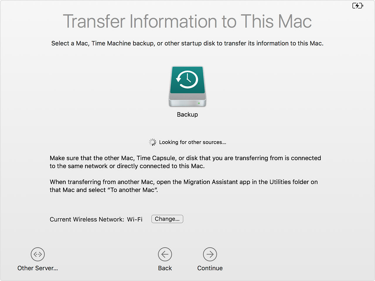Select Time machine in Apple Migration Assistant