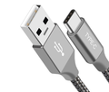 USB-C 3.1 Type-C to Type-A Data Sync Charger Cable Silver Braided Heavy Duty 1m
