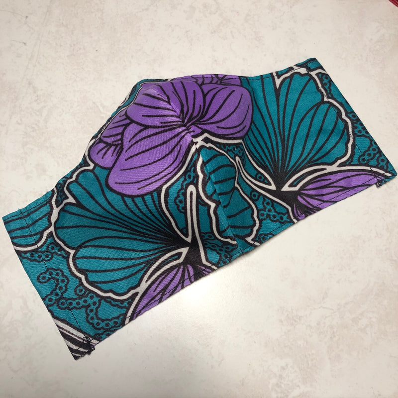 Purple Flower Print Face Mask Pack of 2