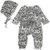 Night Owl Print One-Piece with Hat