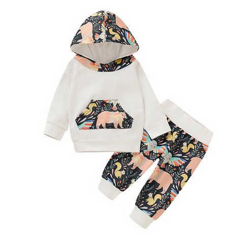 Baby Girl Animal Print Hoodie with Pants