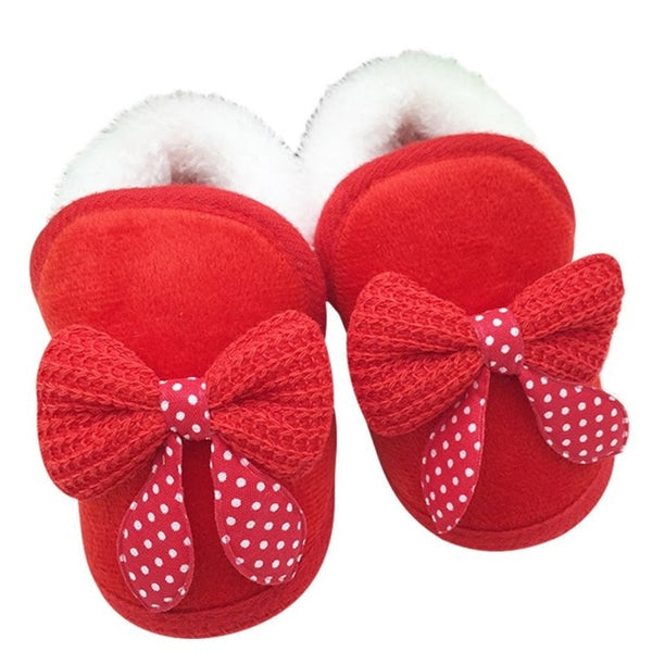 Cozy Bowknot Booties in Red