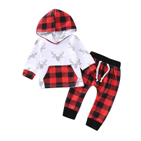 Reindeer Plaid Top with Pants
