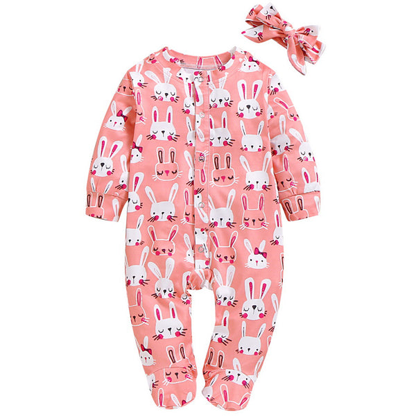 Rabbit All-Over Romper in Pink