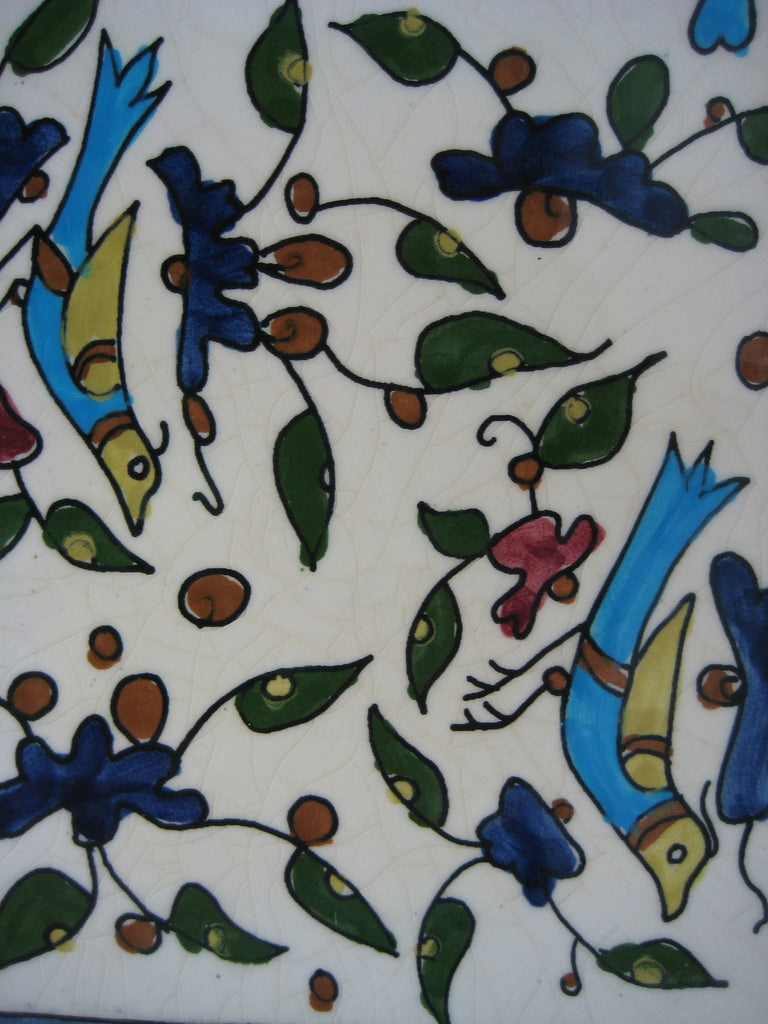 Hand Painted Ceramic Art Tile With Bird And Plant Design