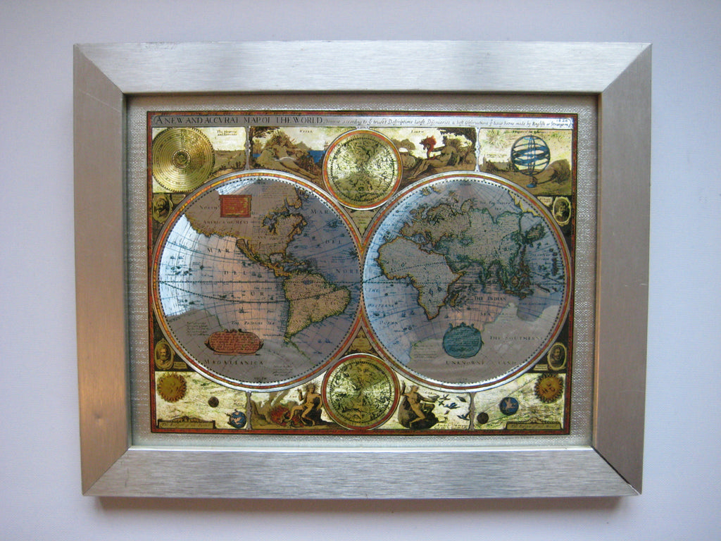 Framed foil map reproduction of a new and accvrat map of the world framed foil map reproduction of a new and accvrat map of the world dated gumiabroncs Choice Image