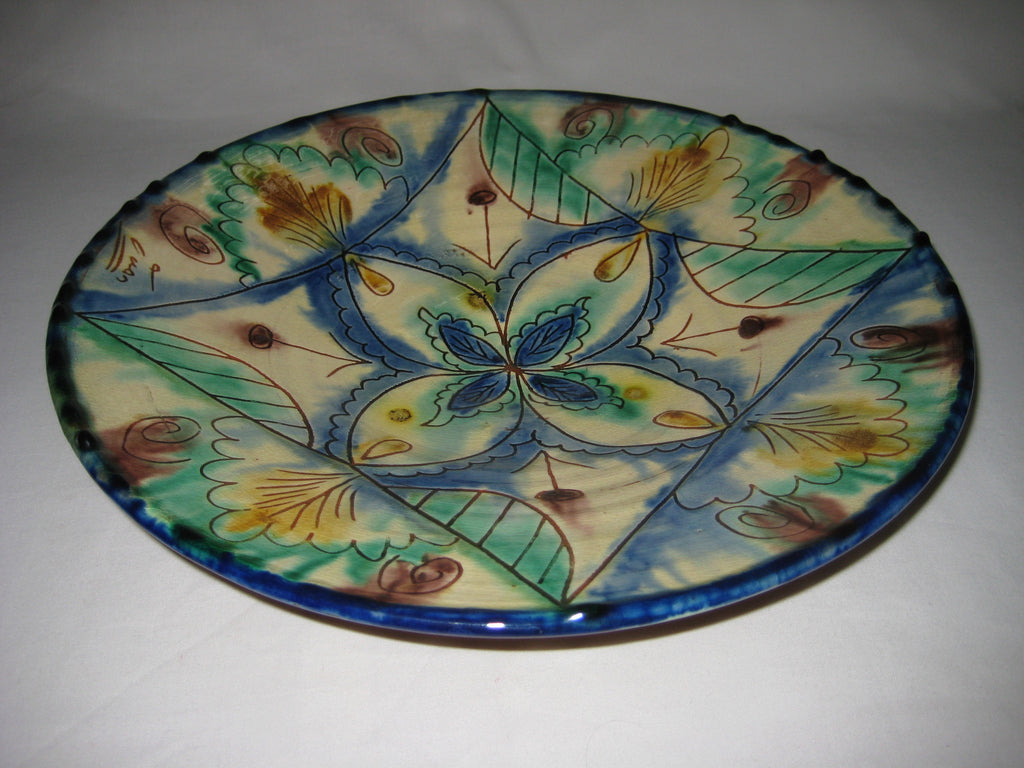 Vintage Hand Painted Spanish Majolica Plate Signed By The