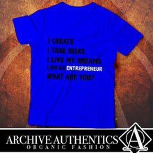 "Load image into Gallery viewer, Archive Authentics Organic Fashion presents their ""Entrepreneur"" collection of their quality custom tees designed by Archive Authentics. This custom tee collection is available in different sizes and colors at https://archive-authentics.myshopify.com"