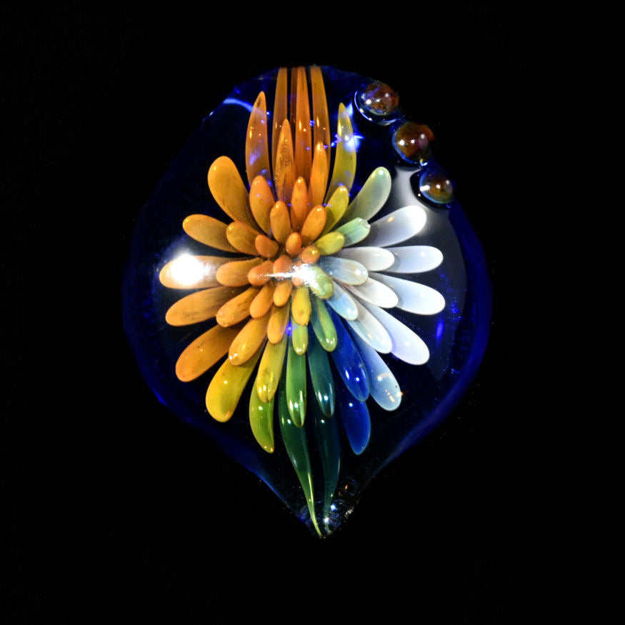 Hand Blown Glass Rainbow Dotted Flower Pendant