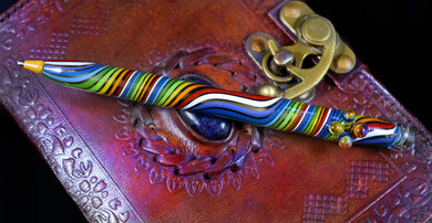 Hand Blown Glass Pen~Rainbow