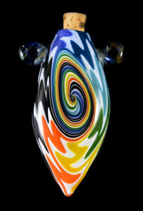 Hand Blown Glass Amphora Bottle~Rainbow with White