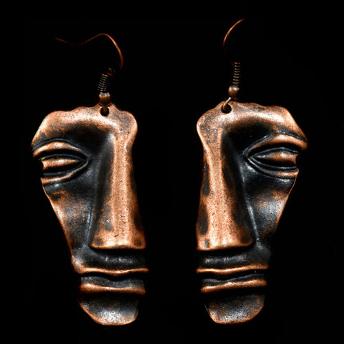 Earrings~ Copper Half Face