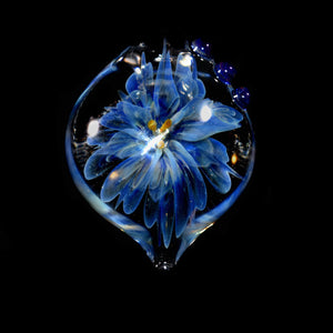 Hand Blown Glass Blue Flower Pendant