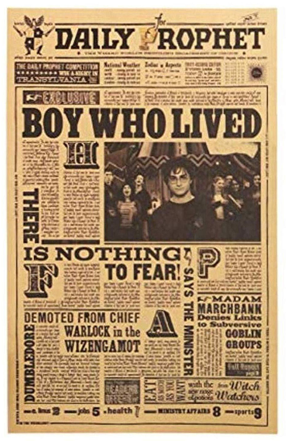Harry Potter~Daily Prophet Poster~ Boy Who Lived