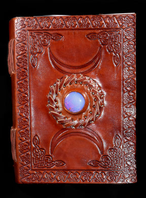 Journal~Embossed Leather With Moon and Moonstone