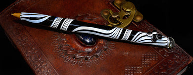 Hand Blown Glass Pen~ Black & White