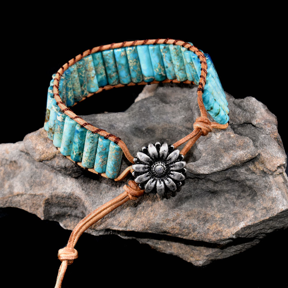 Bracelet~ Beaded Stones and Leather 1