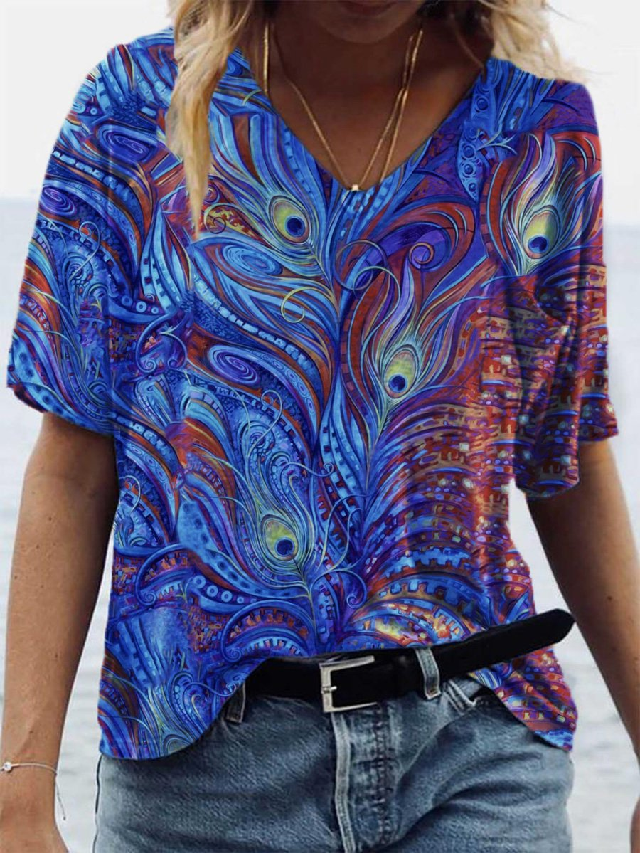 Peacock Plume Painting Print T-shirt