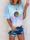 Colorful Sunflower Print Gradient T-shirt