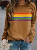 Rainbow Stripes Print Sweatshirt