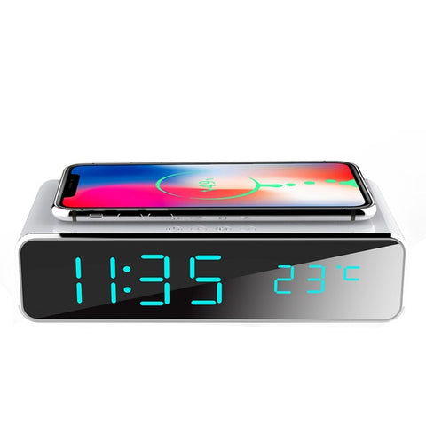 Electric LED Alarm Clock With Wireless Phone Charger