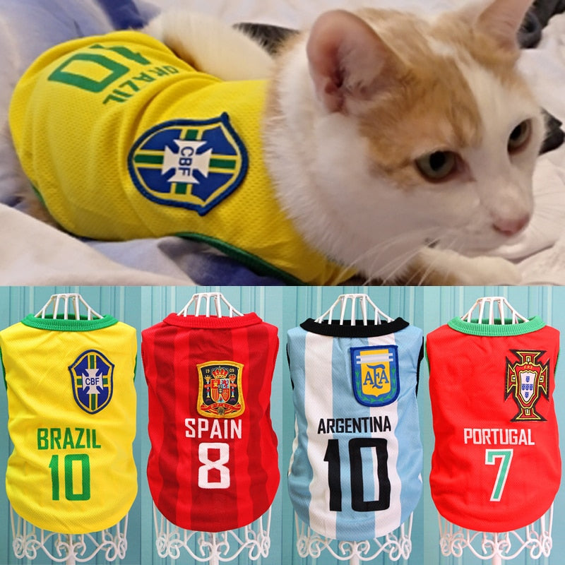 Pet Cat Football Clothes Tshirt Summer Sport