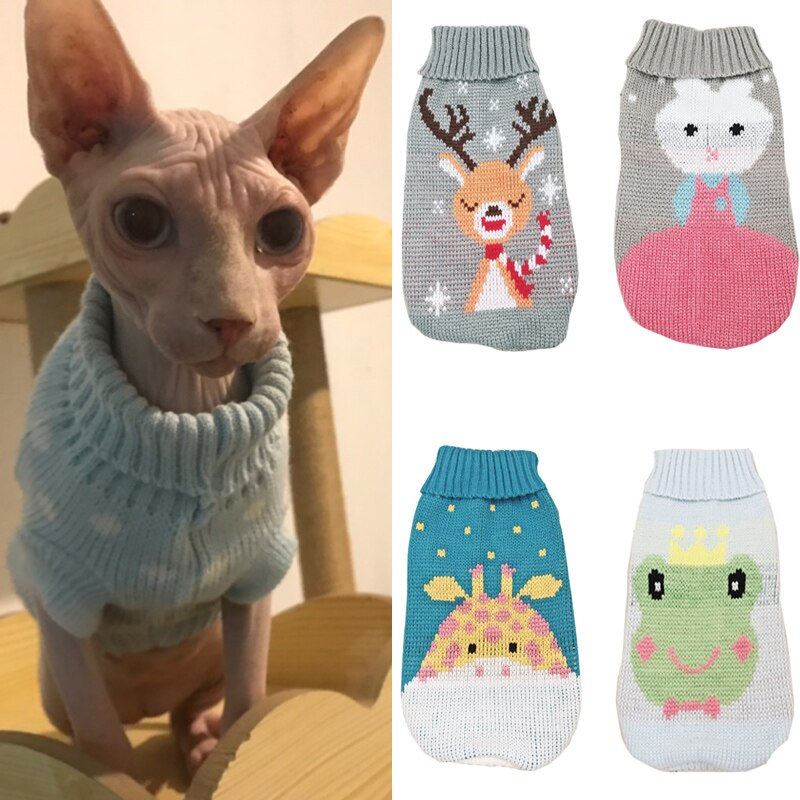 Winter Warm Pet Cat Clothes Cartoon Sweater for Cats
