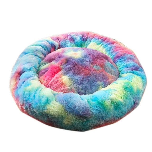 Pet Bed Long Plush Cat Bed Soft Round Mat