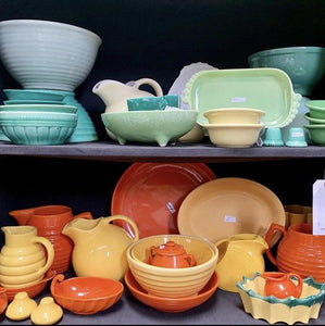 Collectible colorful dishes and dishware.