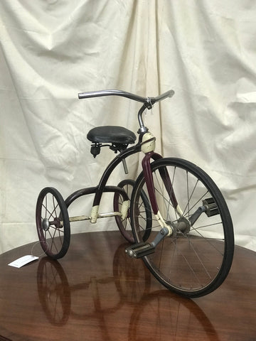 Antique Burgandy & White Tricycle w/Leather Seat