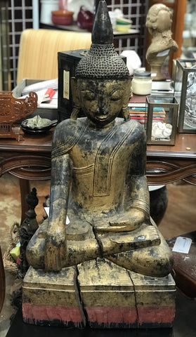 Seated Gilt Carved Wood Buddah